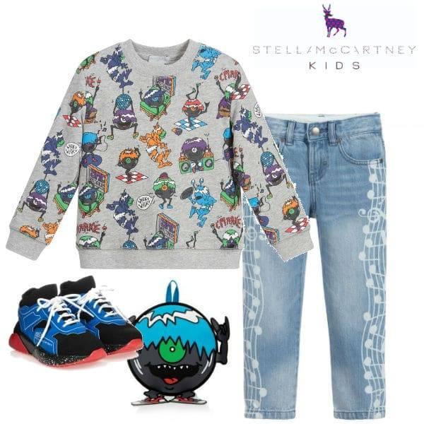 Stella McCartney Kids Boys Grey Music Monsters Sweatshirt Music Note Jeans
