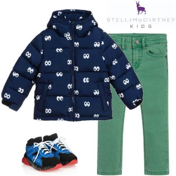 Stella McCartney Kids Boys Navy Blue Cartoon Eyes Puffer Jacket Green Jeans