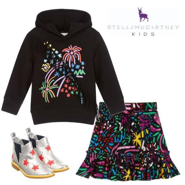 Stella McCartney Kids Girls Black Cotton Fireworks Hoodie Skirt Silver Star Boots