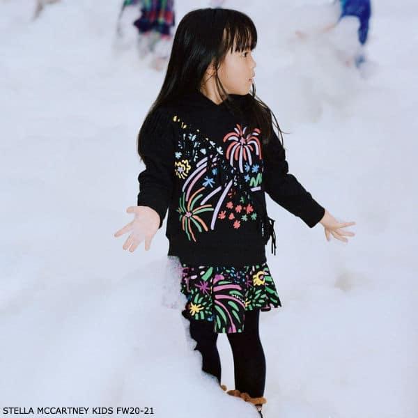 Stella McCartney Kids Girls Black Cotton Fireworks Hoodie Skirt