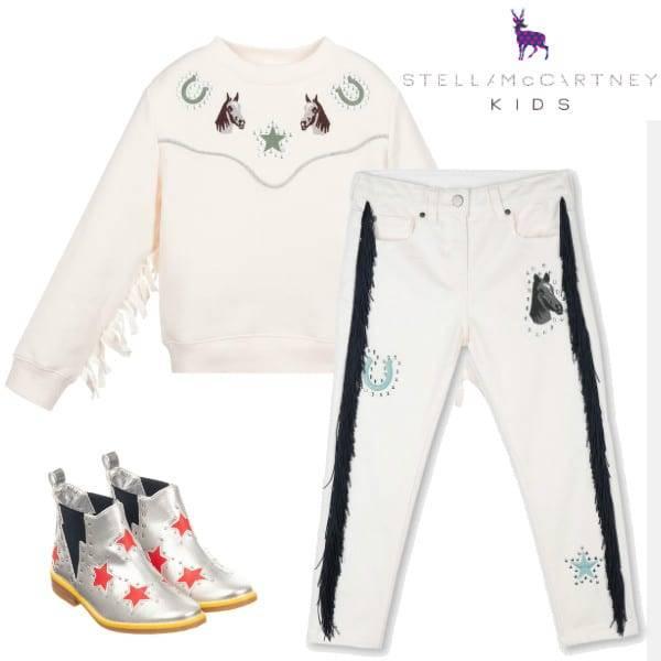 Stella McCartney Kids Girls Horses & Fringe Pink Cotton Sweatshirt Pants Red Star Boots
