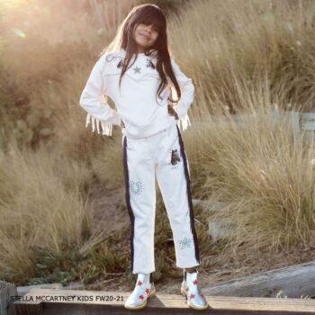 Stella McCartney Kids Girls Horses & Fringe Pink Sweatshirt White Denim Pants