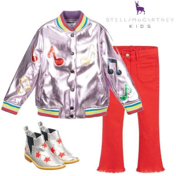 Stella McCartney Kids Girls Metallic Pink Music Note Bomber Jacket Silver Star Boots
