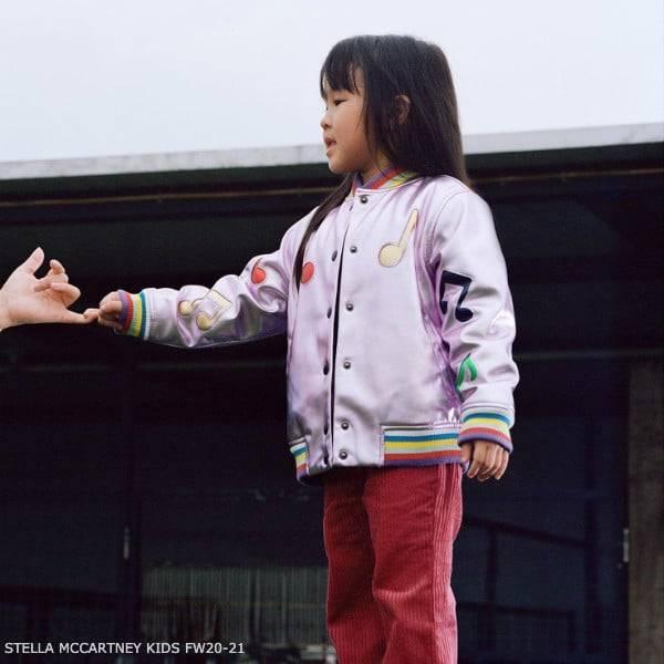 Stella McCartney Kids Girls Metallic Pink Music Note Bomber Jacket