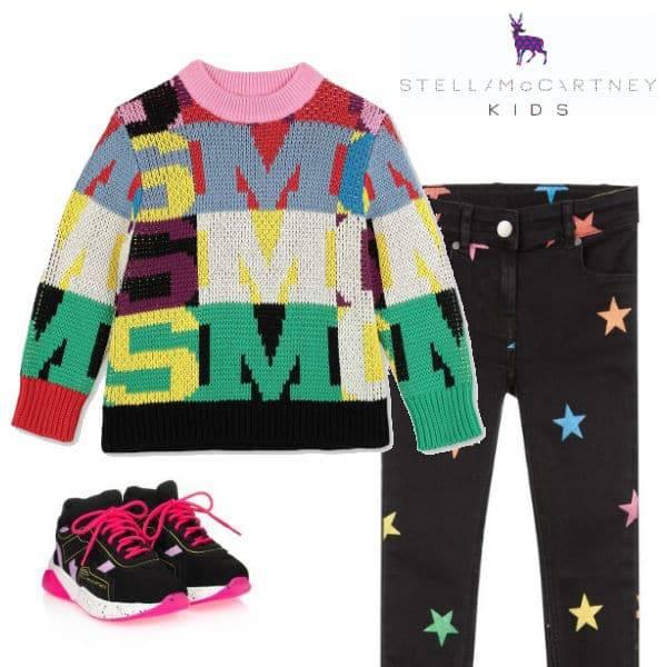 Stella McCartney Kids Girls Multi-Color Logo Letters Intarsia Sweater Black Star Denim Jeans