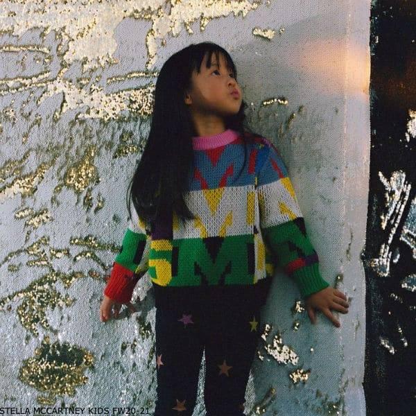 Stella McCartney Kids Girls Multi-Color Logo Letters Intarsia Sweater