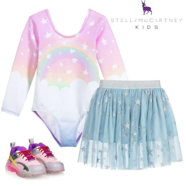 Stella McCartney Kids Girls Pink Magic Rainbow Leotard Blue Star Print Tulle Skirt Pink Sneakers