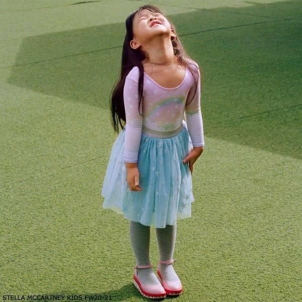 Stella McCartney Kids Girls Pink Magic Rainbow Leotard Blue Star Print Tulle Skirt
