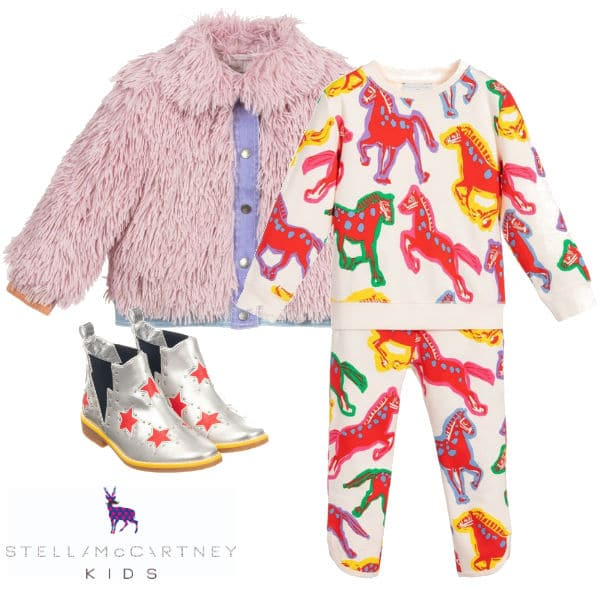 Stella McCartney Kids Girls Pink Faux Fur Jacket Horse Print Tracksuit Silver Star Boots