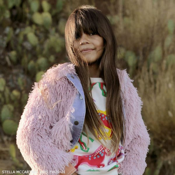 Stella McCartney Kids Girls Pink Shaggy Faux Fur Jacket Horse Print Tracksuit