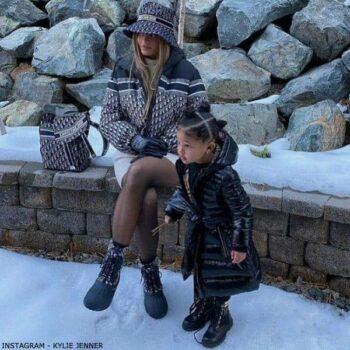 Stormi Webster - Burberry Girls Black Logo Puffer Coat