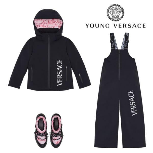 Young Versace Black Logo Padded Ski Jacket Overall Pants Pink Snow Boots