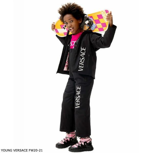 Young Versace Kids Black Logo Padded Ski Jacket Overall Pants
