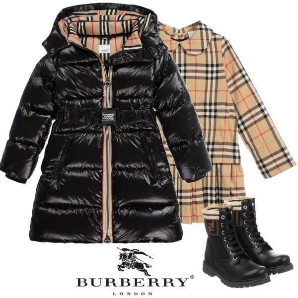 Stormi Webster Burberry black down puffer jacket fendi black biker boots
