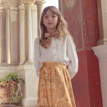 Alviero Martini Beige Geo Map Satin Bowtie Blouse Skirt