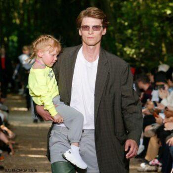 Balenciaga Kids Neon Yellow Cotton Hoodie Sweatshirt Grey Joggers White Sock Shoes