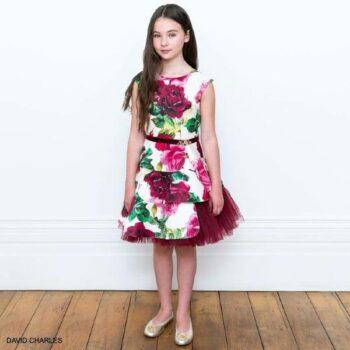 David Charles Girls Pink Green Ivory Flower Print Satin Tulle Party Dress