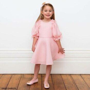 David Charles Girls Pink Neoprene Chiffon Flower Sleeve Party Dress Dress