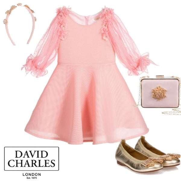 David Charles Girls Pink Neoprene Chiffon Flower Sleeve Party Dress Dress Gold Shoes