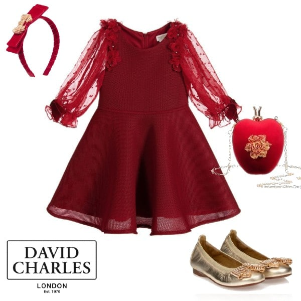 David Charles Girls Red Neoprene Chiffon Flower Sleeve Party Dress Dress Gold Shoes