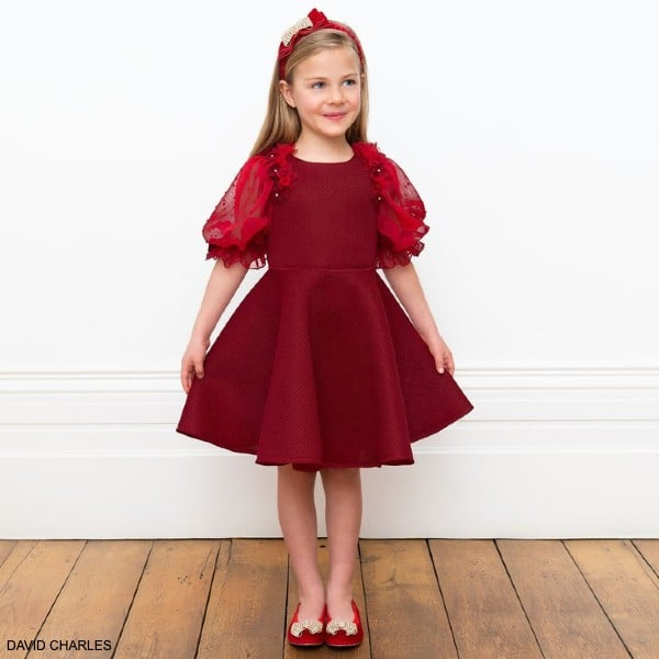 David Charles Girls Red Neoprene Chiffon Flower Sleeve Party Dress Dress
