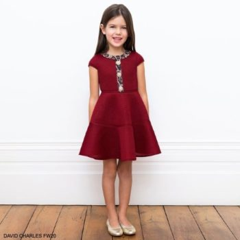 David Charles Girls Red Neoprene Leopard Trim Party Dress