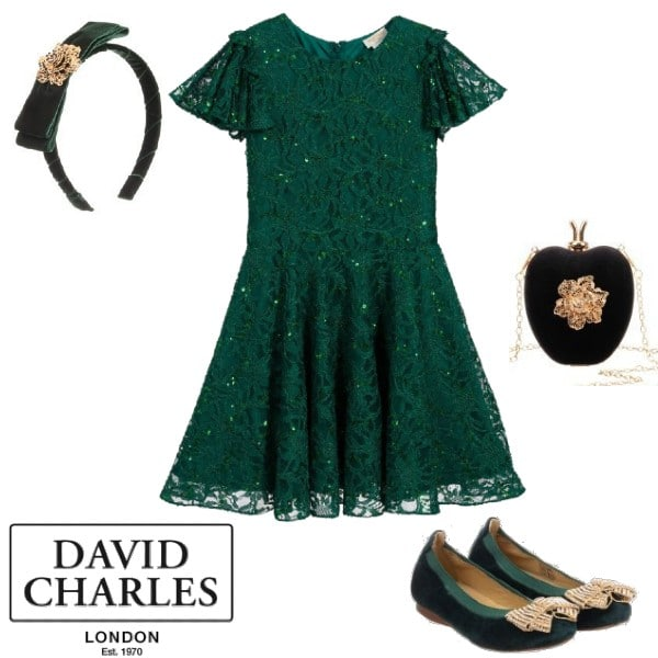 David Charles Green Sequin Lace Special Occasion Dress Headband Shoes