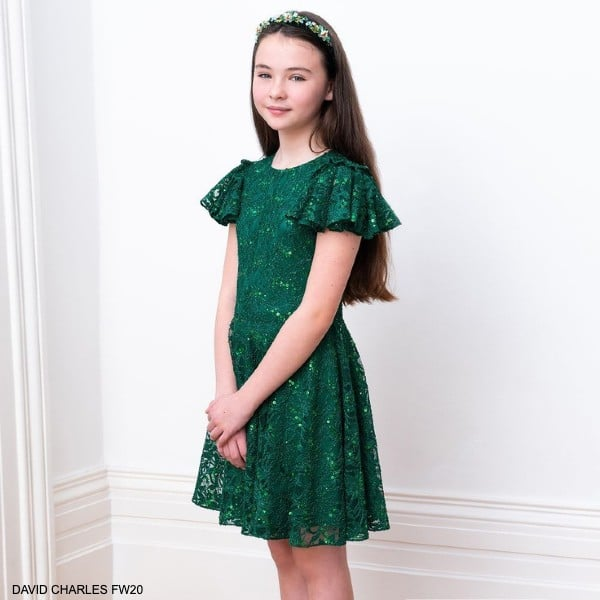 DAVID CHARLES GREEN SEQUIN LACE SPECIAL OCCASION DRESS