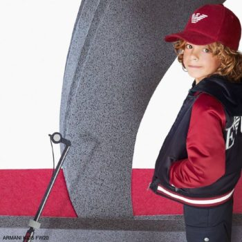 Emporio Armani Kids Boys Navy Blue Burgundy Red Logo Bomber Jacket