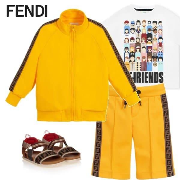 Fendi Boys Yellow FF Logo Tracksuit FFriends White Tshirt Brown Sandals