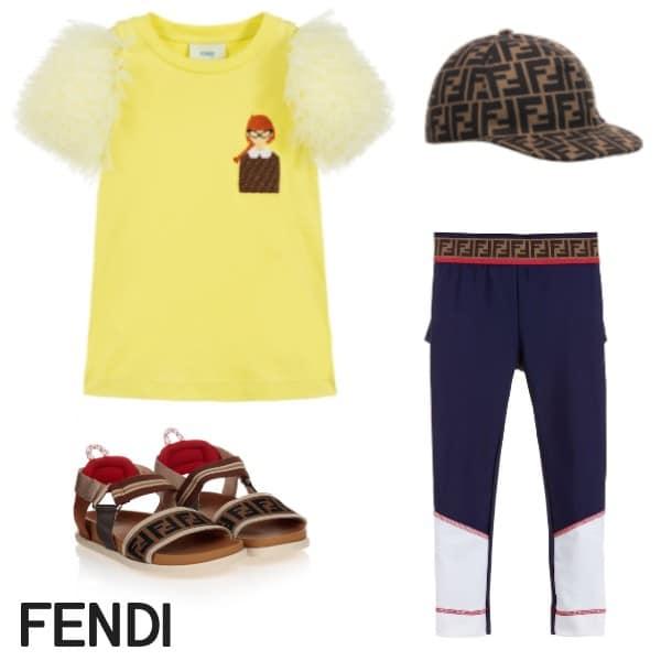 Fendi Girls Blue FF Lycra Leggings Yellow Tulle Shirt Brown FF Sandals