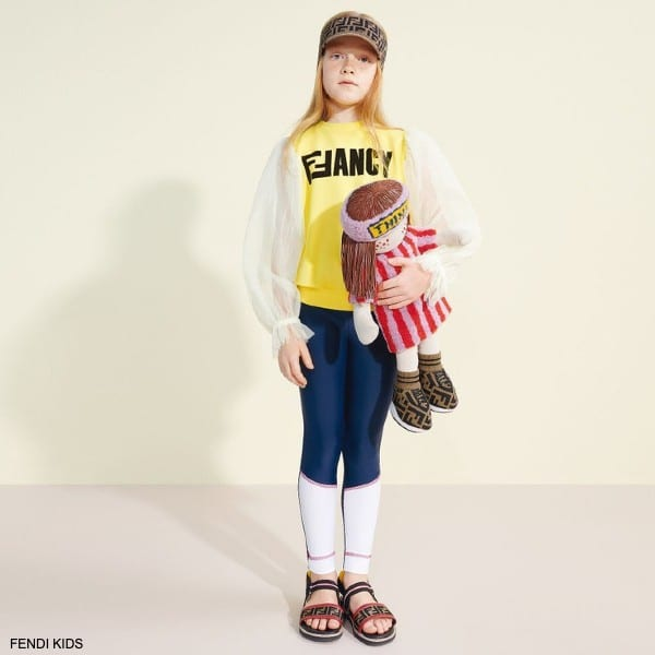 Fendi Girls Yellow Tulle Shirt Blue FF Lycra Leggings