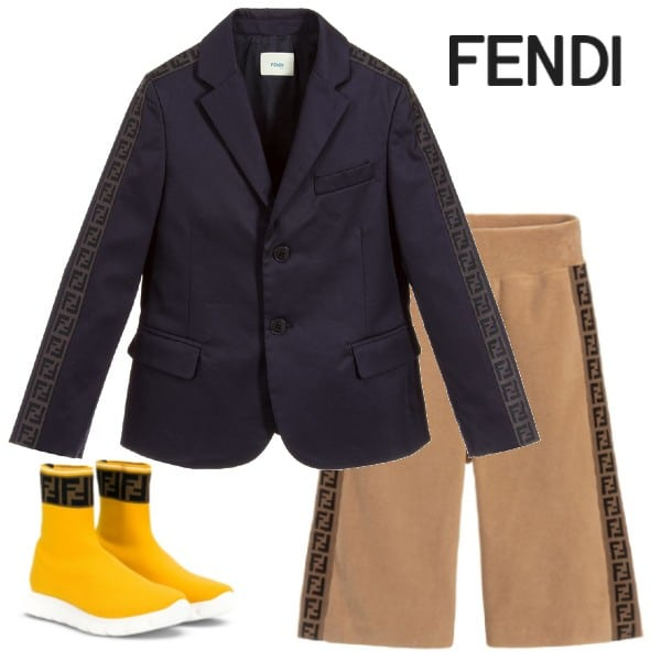 Fendi Kids Boys Navy Blue FF BlazerJacket Brown Velour Shorts Yellow Sock Shoes