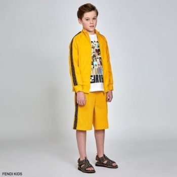 Fendi Kids Boys Yellow FF Brown Logo Tracksuit Jacket Shorts