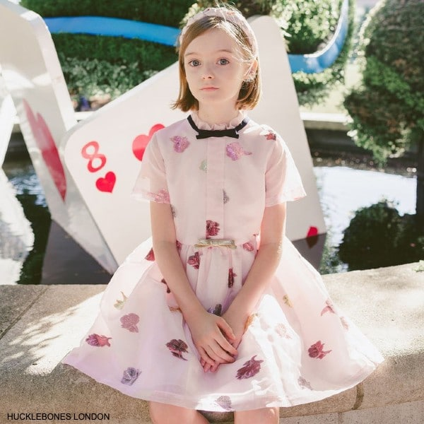 Hucklebones London Girls Pink Chiffon Empire Bow Party Dress