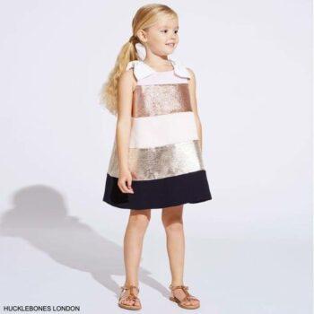 Hucklebones London Girls Pink & Gold Striped Satin Party Dress