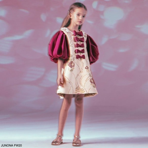 Junona Kids Girl Pink Gold Embroidery Puff Sleeve Bow Party Dress Bag