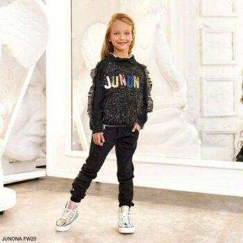 Junona Kids Girls Black Logo Fringe Organza Tracksuit