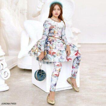 Junona Kids Girls Blue Pink Floral Butterfly Print Shirt Skirt Leggings
