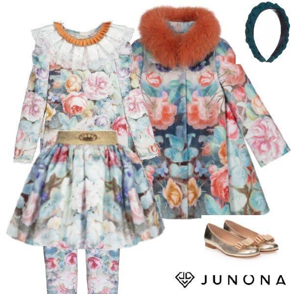 Junona Kids Girls Blue Pink Floral Butterfly Print Shirt Skirt Leggings Cashmere Fur Collar Coat