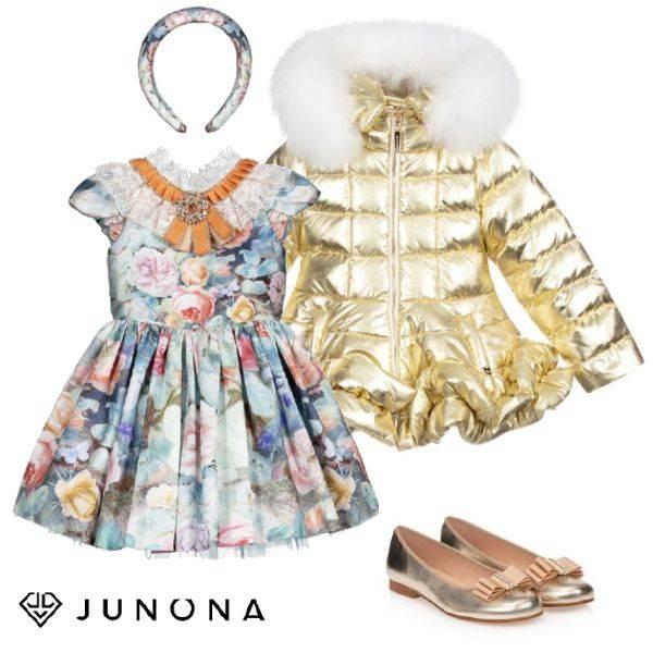 Junona Kids Girls Metallic Gold Down Puffer Coat White Fur Collar Blue Pink Floral Butterfly Dress Gold Ballet Shoe