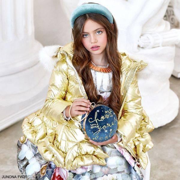 Junona Kids Girls Metallic Gold Down Puffer Coat White Fur Collar Blue Pink Floral Butterfly Dress