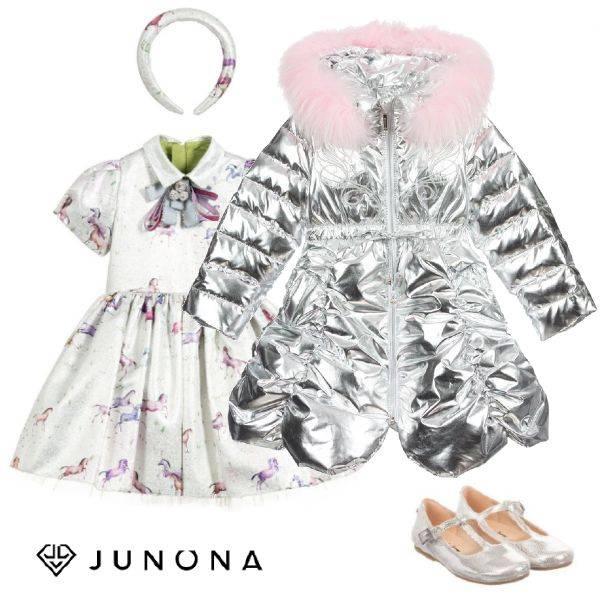 Junona Kids Girls Metallic Silver Down Padded Puffer Coat Silver Unicorn Print Dress Mary Jane Shoes