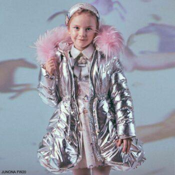 Junona Kids Girls Metallic Silver Down Puffer Coat Pink Fur Collar Silver Unicorn Dress