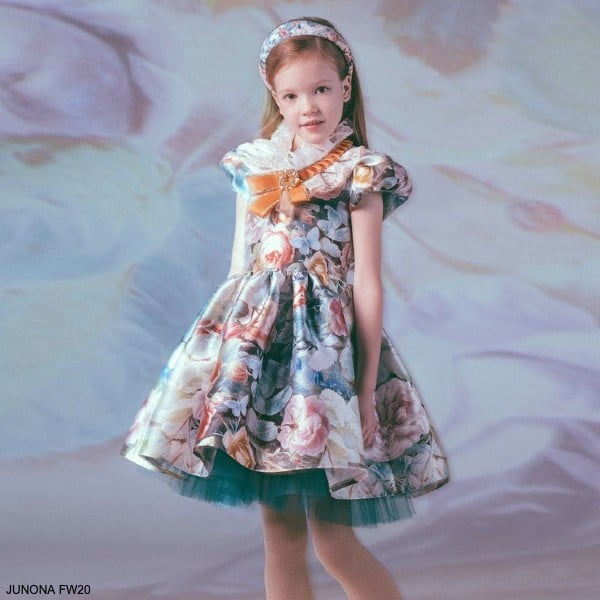 Junona Kids Girls Pink Blue Floral Butterfly Tulle Special Occasion Dress