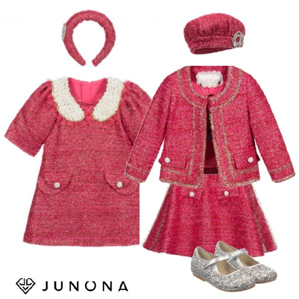 Junona Kids Girls Pink Gold Tweed Dress Skirt Jacket Silver Mary Jane Shoes