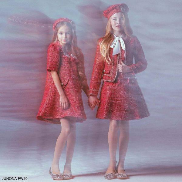 Junona Kids Girls Pink Gold Tweed Dress Skirt Jacket