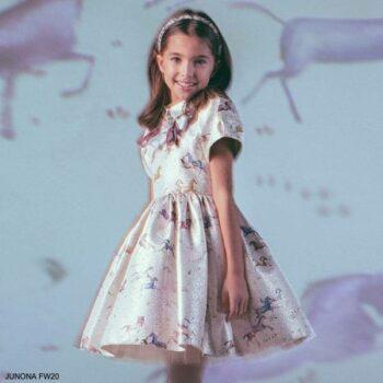 Junona Kids Girls Silver Unicorn Print Special Occasion Dress