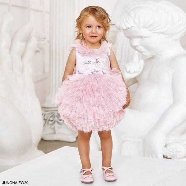 Junona Kids Little Girls Pink Puff Tulle Unicorn Print Party Dress