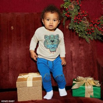 Kenzo Baby Beige Cotton Tiger Sweatshirt Blue Knee Patch Joggers